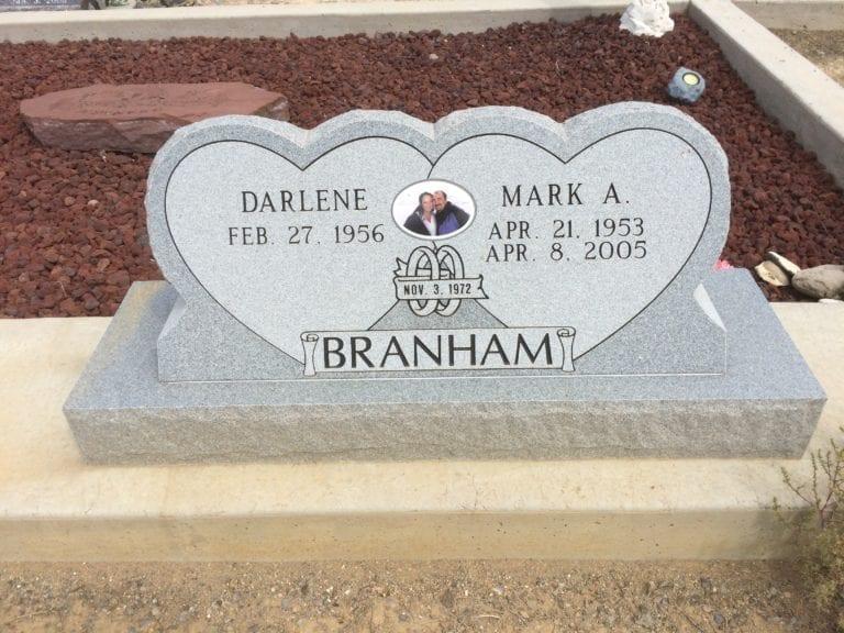 Branham Double Heart Upright Monument