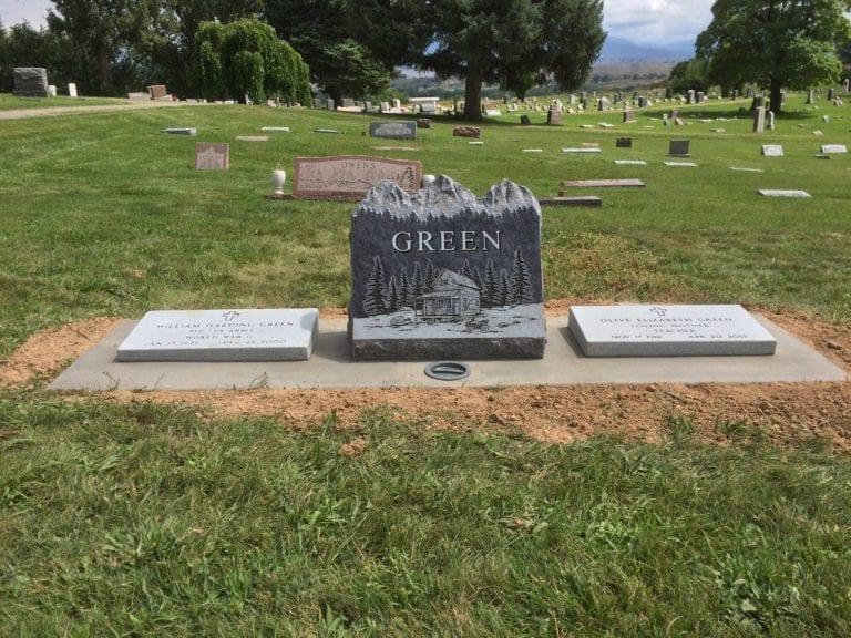 Green Family Bevel Grave Marker