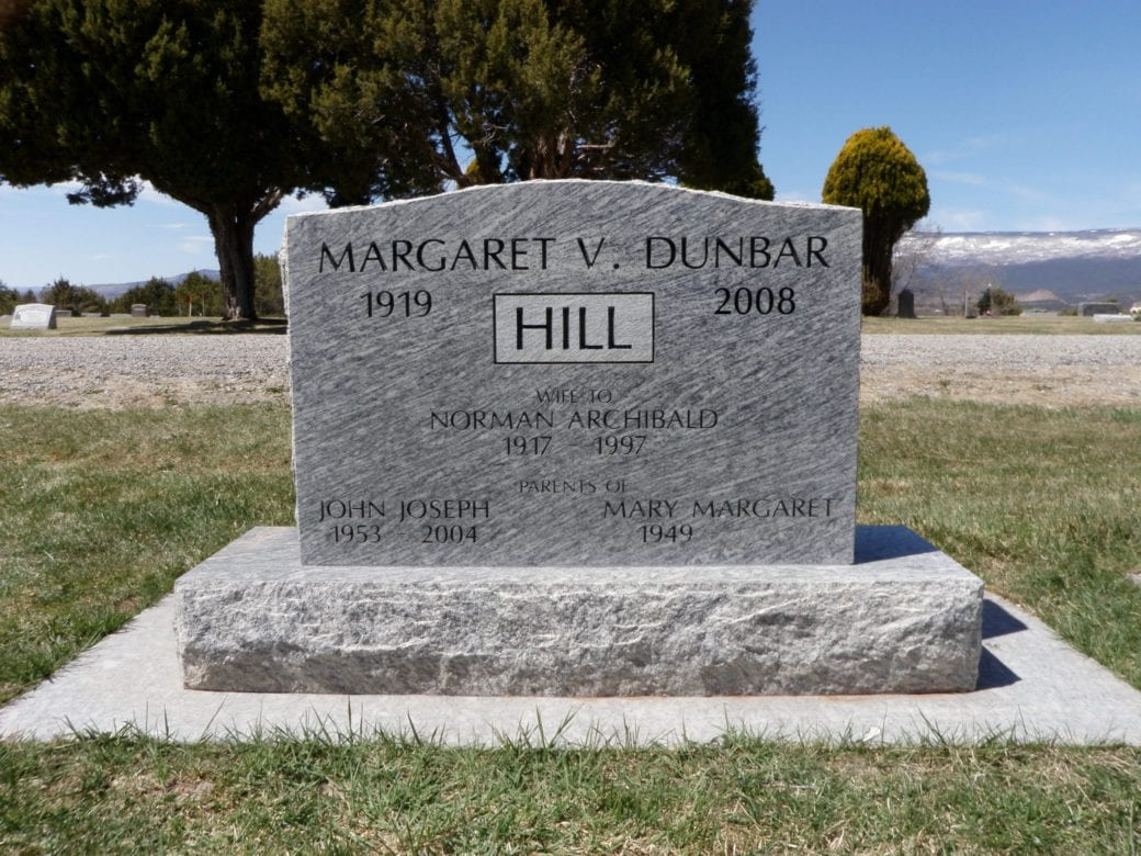Hill Upright Tablet Monument
