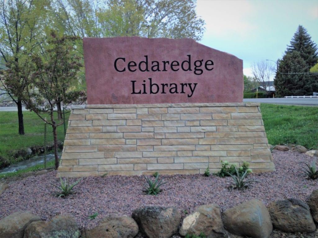 Cedaredge Library Stone Sign